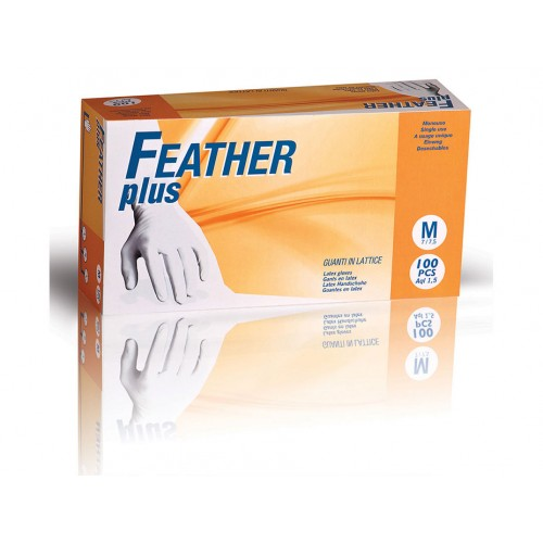 FEATHER plus 100ks. latexové rukavice s púdrom